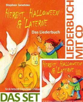 SET LIEDERBUCH inkl. CD Herbst, Halloween & Laterne. Für den Herbst: 5 Herbstlieder - 5 Halloweenlieder - 5 Laternenlieder